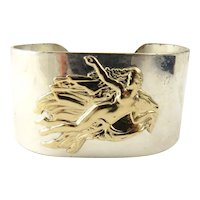 Vintage Pierre Cardin Sterling Silver and 14K Yellow Gold Aphrodite Mermaid Cuff Bracelet