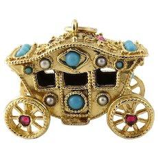 Vintage 14 Karat Yellow Gold Coach/Carriage Charm