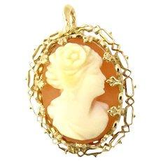 Vintage 10 Karat Yellow Gold Cameo Pendant