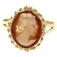 Vintage 14 Karat Yellow Gold Cameo Ring Size 4.75