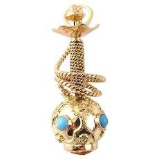 Vintage 14 Karat Yellow Gold Hookah Pipe Shisha Charm