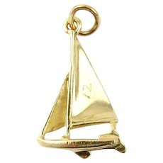 Vintage 14 Karat Yellow Gold Sailboat Charm