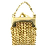 Vintage 14 Karat Yellow Gold Mesh Change Purse Pendant