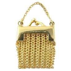 Vintage 14 Karat Yellow Gold Mesh Change Purse Pendant