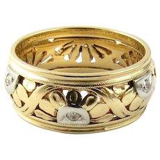 Vintage 14 Karat Yellow Gold and Diamond Wedding Band Size 6.25