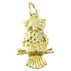 Vintage 14 Karat Yellow Gold Owl Charm