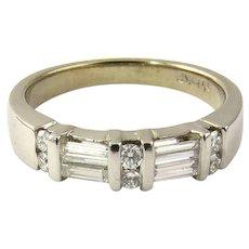 Vintage 14 Karat White Gold Diamond Wedding Band Size 6