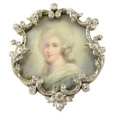 Antique Victorian 18 Karat Yellow Gold and Diamond Portrait Brooch