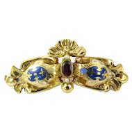Vintage 18 Karat Yellow Gold, Garnet, Seed Pearl and Enamel Brooch/Pin