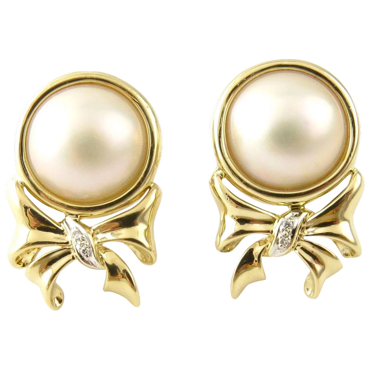 cb2cc911d Vintage 14 Karat Yellow Gold Pearl and Diamond Earrings : Gold and Silver  Brokers | Ruby Lane