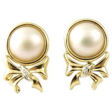 Vintage 14 Karat Yellow Gold Pearl and Diamond Earrings
