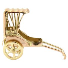 Vintage 14 Karat Yellow Gold Mechanical Rickshaw Charm