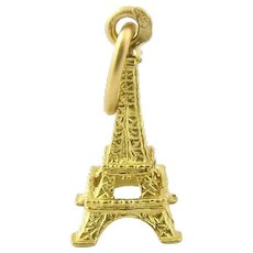 Vintage 14 Karat Yellow Gold Eiffel Tower Charm