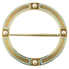 Vintage 14 Karat Yellow Gold and Pearl Circle Pin