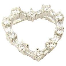 Vintage 18 Karat White Gold Diamond Heart Pendant