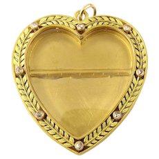 Vintage 14 Karat Yellow Gold and Diamond Heart Locket Pendant