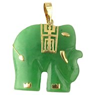 Vintage 14 Karat Yellow Gold and Jade Elephant Pendant