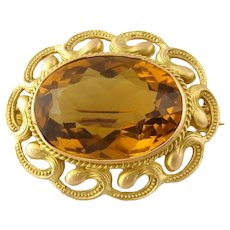 Vintage 14 Karat Yellow Gold Citrine Brooch