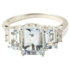 Vintage 14 Karat White Gold Aquamarine and Diamond Ring Size 5.25