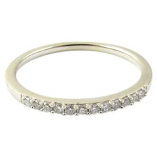 Vintage 14 Karat White Gold Diamond Wedding Band Size 7