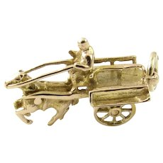 Vintage 10 Karat Yellow Gold Horse and Cart Charm