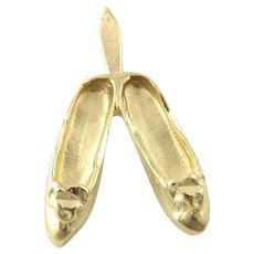Vintage 14 Karat Yellow Gold Ballet Slippers Charm