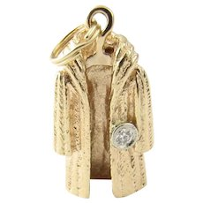 Vintage 14 Karat Yellow Gold and Diamond Mink Coat Charm