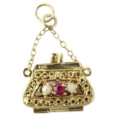 Vintage 14 Karat Yellow Gold Handbag Charm
