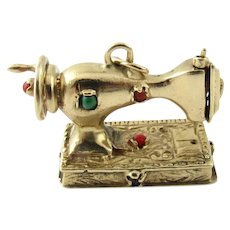 Vintage 14 Karat Yellow Gold Mechanical Sewing Machine Charm