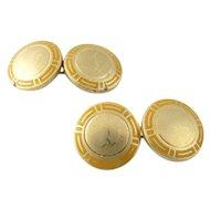 Vintage Bulgari 18 Karat Yellow Gold and Enamel Cufflinks