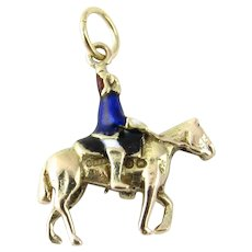 Vintage 9 Karat Yellow Gold and Enamel Soldier on Horse Charm