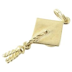 Vintage 14 Karat Yellow Gold Graduation Cap Charm