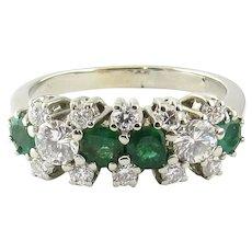 Vintage 14 Karat White Gold Emerald and Diamond Ring 5.5