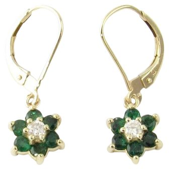 Vintage 14 Karat Yellow Gold Emerald and Diamond Earrings