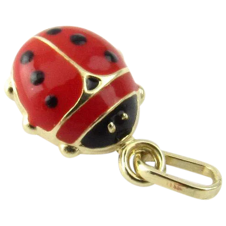 7f5c4994e Vintage 14 Karat Yellow Gold and Enamel Ladybug Charm : Gold and Silver  Brokers | Ruby Lane