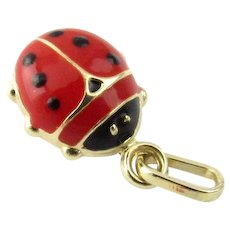 Vintage 14 Karat Yellow Gold and Enamel Ladybug Charm