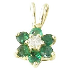 Vintage 14 Karat Yellow Gold Emerald and Diamond Pendant