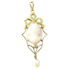 Vintage 14 Karat Yellow Gold and Diamond Cameo Pendant