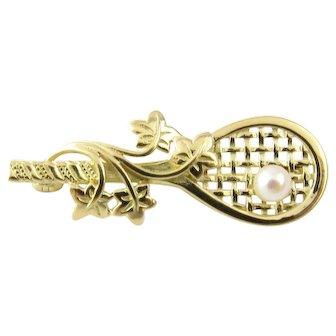 Vintage 18 Karat Yellow Gold Tennis Racket Brooch/Pin