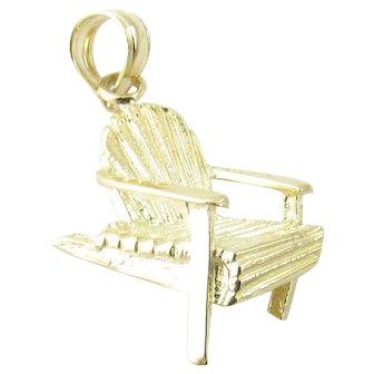 Vintage 14 Karat Yellow Gold Adirondack Chair Charm