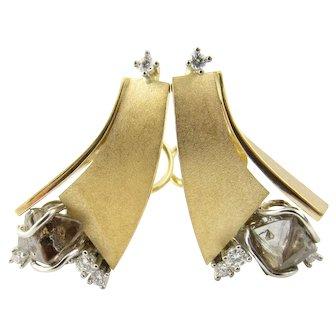 Vintage 18 Karat Yellow Gold and Diamond Geometric Earrings