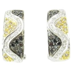 Vintage 14 Karat White Gold Black and White Diamond Earrings