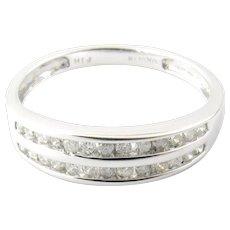 Vintage 10 Karat White Gold Diamond Wedding Band Size 7