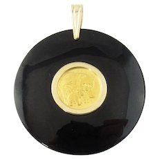 Vintage Onyx and 14 Karat Yellow Gold 2004 1/20th .999 oz  Fine Chinese Panda Pendant