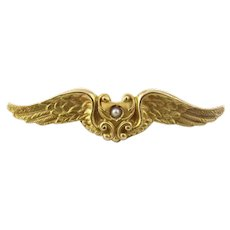 Antique Victorian 14 Karat Yellow Gold and Seed Pearl Wings Brooch/Pin