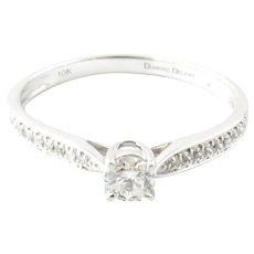 IGI Certified Vintage 10 Karat White Gold Diamond Engagement Ring Size 7.75