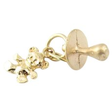 Vintage 14 Karat Yellow Gold Pacifier and Teddy Bear Charm