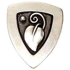 Vintage Laurence Foss Sterling Silver Leaf Pin #450