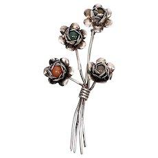 Vintage Coro Sterling Silver Flower Pin/Brooch