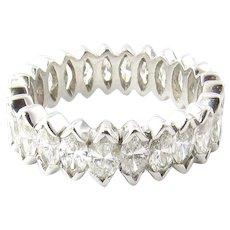 Vintage 14 Karat White Gold Marquis Diamond Eternity Band Ring Size 6